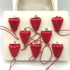 VTG PYRAMID 8 Satin Bell Unbreakable Ornaments Red